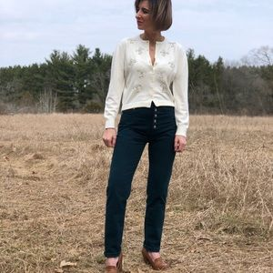 70s Button Fly Dark Teal Jeans